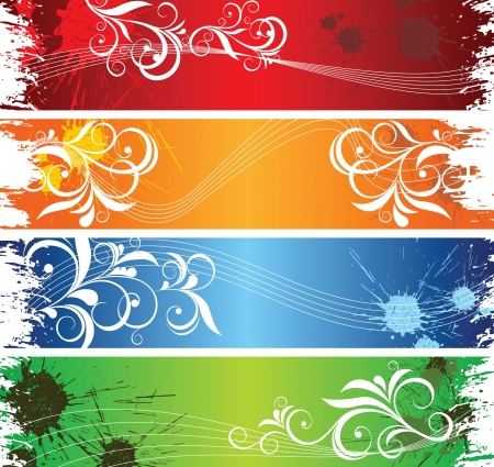 four pattern: abstract bright banners Illustration
