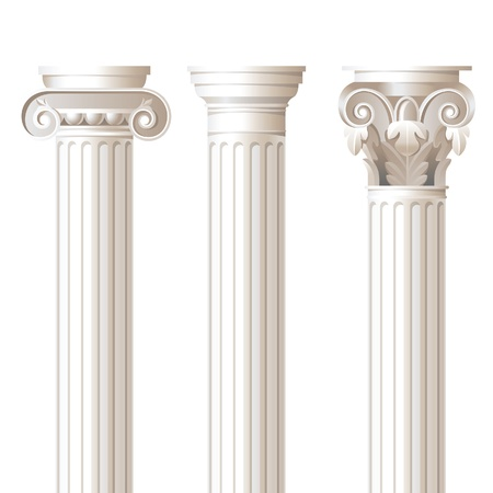 3 colonnes dans des styles différents - ionique, dorique, corinthien - pour vos conceptions architecturales Vecteurs