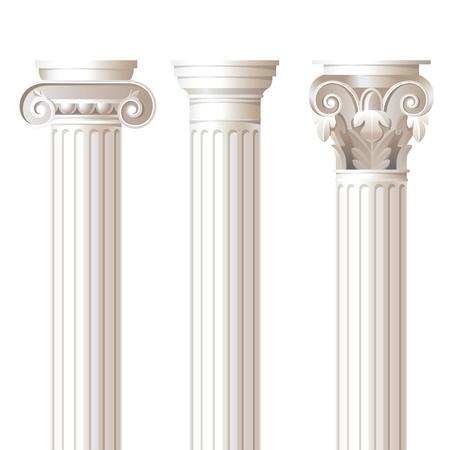 3 kolommen in verschillende stijlen - Ionische, Dorische en Corinthische - voor uw architectonische ontwerpen Vector Illustratie