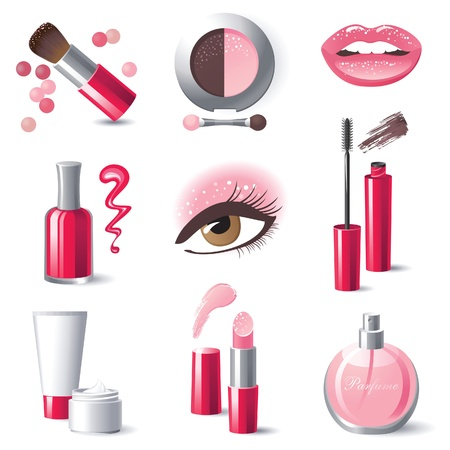 cosmetics products: Glamourous make-up icons set