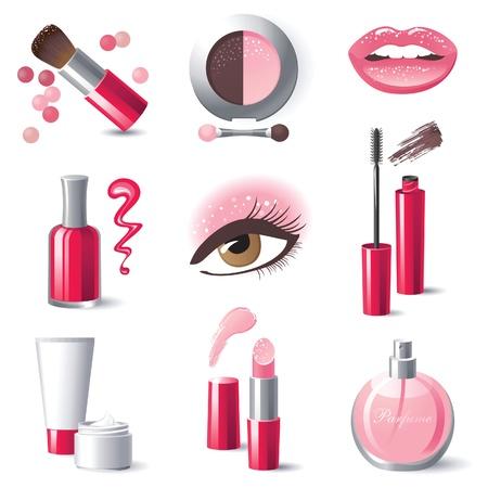 Glamourous set make-up iconen Vector Illustratie