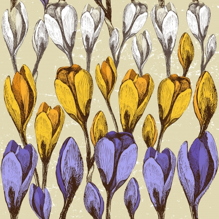 seamless background with crocus flowers in retro style Vector