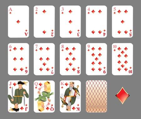 에이스: 카드 놀이 - 다이아몬드 정장 매우 상세한 그림 일러스트