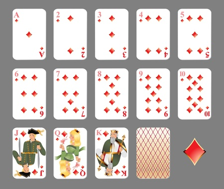 king and queen of hearts: Playing cards - diamond suit highly detailed illustration
