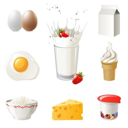 Altamente dettagliati prodotti lattiero-caseari icons set
