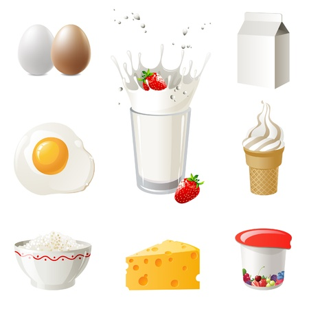 highly: Highly detailed milk products icons set