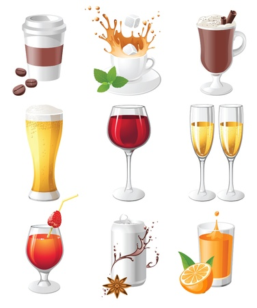 hot chocolate drink: 9 muy detallados bebidas iconos Vectores