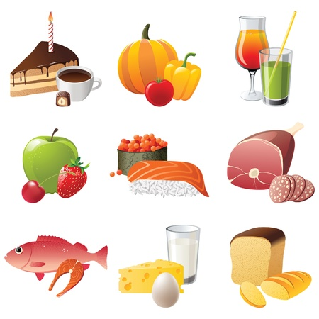 set of 9 highly detailed food icons Stock Vector - 13869628