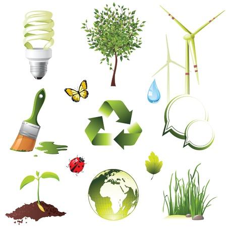 plants growing: Icone di protezione Ecologia impostato Vettoriali