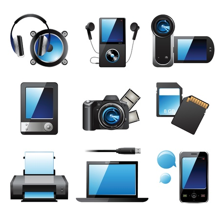 electronic devices: 9 highly detailed electronic devices icons Illustration