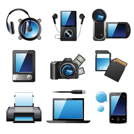 9 icone dispositivi elettronici altamente dettagliate