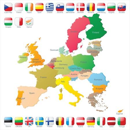 deutschland karte: Die Europ�ische Union Karte mit Flaggen