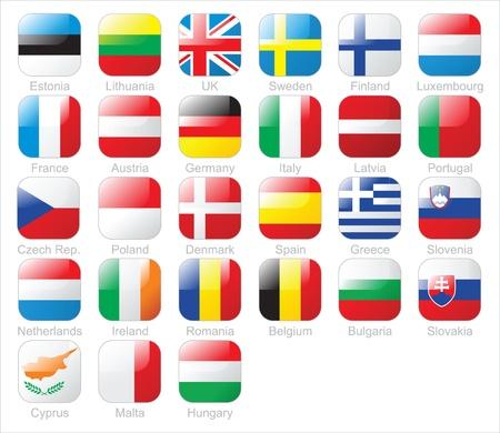 bandera de portugal: Las banderas de la Uni�n Europea iconos Vectores