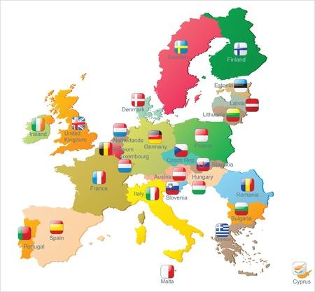 union: La mappa Unione europea con le bandiere