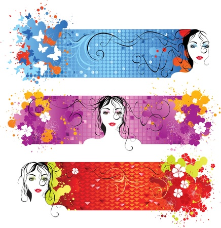 bright banners with girl face Stock Vector - 14270001