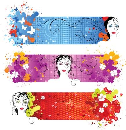 heldere banners met meisje gezicht Vector Illustratie