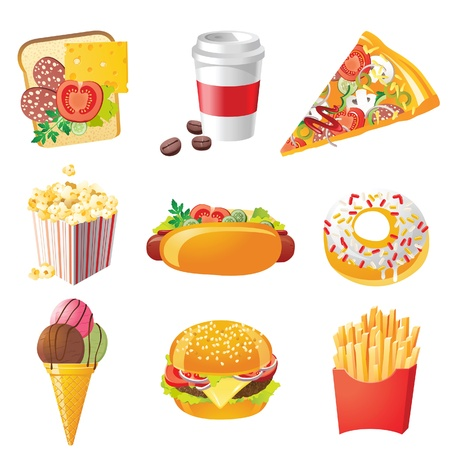 popcorn: 9 icone fastfood realistici Vettoriali