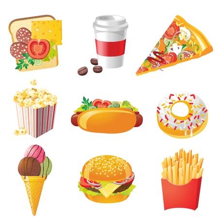 9 realistic fastfood icons Ilustrace