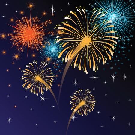 crackers: fuegos artificiales de colores Vectores