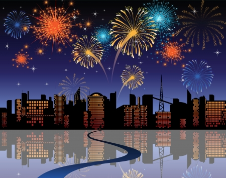 new year s eve: fireworks in the city Illustration