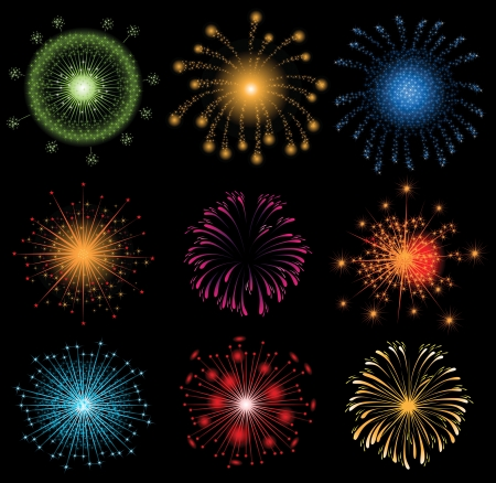 9 colorful fireworks  Stock Vector - 14269999