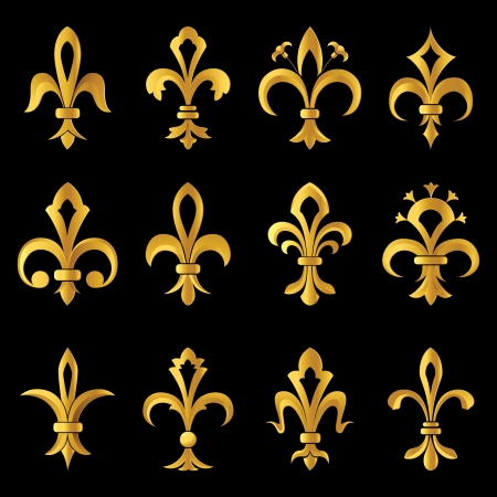 french culture: stylized fleur de lys icons Illustration
