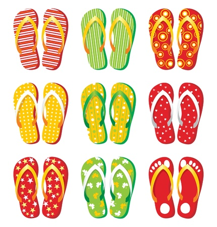 casual wear: colorful flip-flop icons
