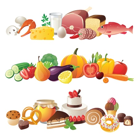 3 hochdetaillierte Nahrung Grenzen Vektorgrafik
