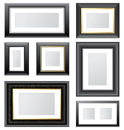 gold picture frame: 7 black frames