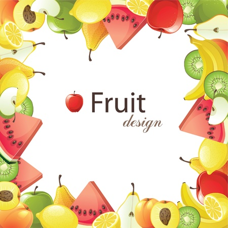 delicious food: fruits frame for your designs