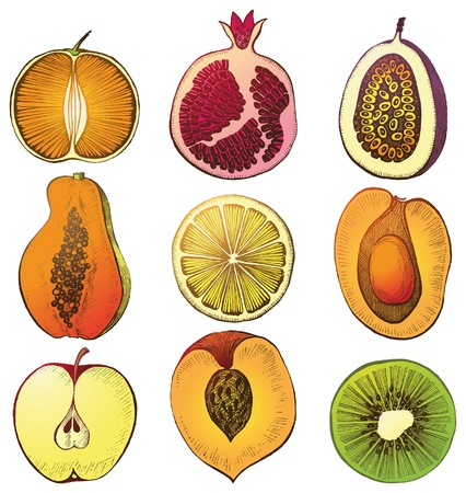 9 hand drawn fruit icons