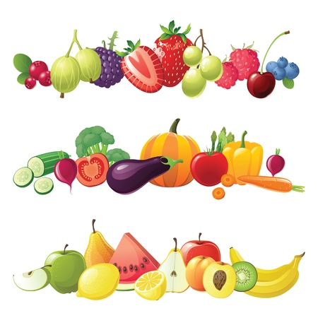 verduras: frutas verduras y bayas fronteras de vectores Vectores