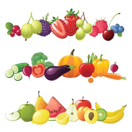 Obst Gemüse und Beeren Vektor Grenzen
