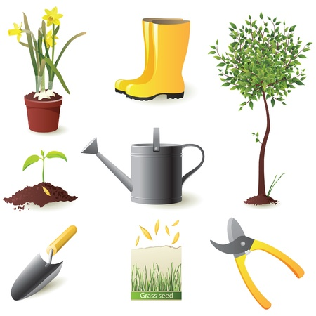 saplings: Gardening icons set - vector illustration Illustration