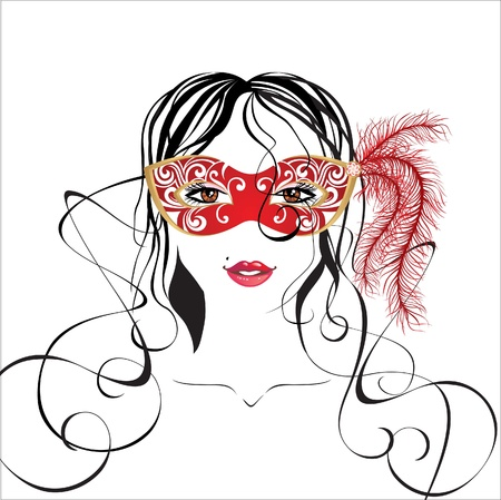 hair mask: girl in carnival mask Illustration