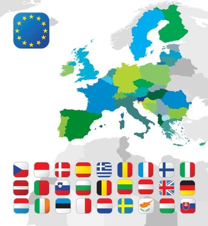 europeans: La mappa Unione europea con le bandiere
