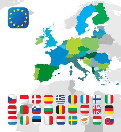 evropský: Mapa Evropské unie s vlajkami Ilustrace