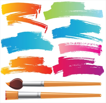 tints: paintbrushes and paint traces  Illustration