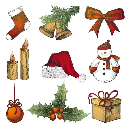 hand drawn Chrismas icons set Vector
