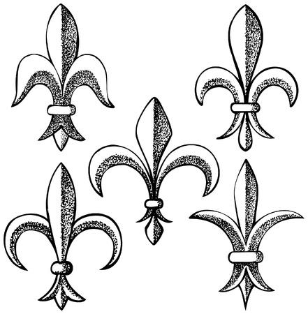 hand drawn fleur de lys icons Stock Vector - 14270141