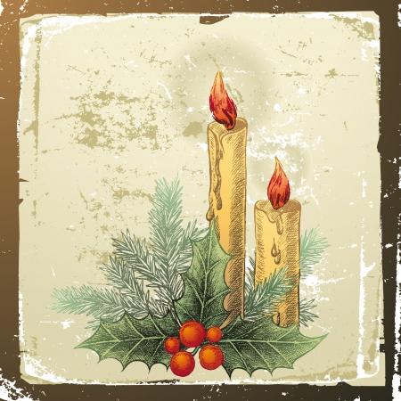 evergreen branch: dibujado a mano de fondo de Navidad