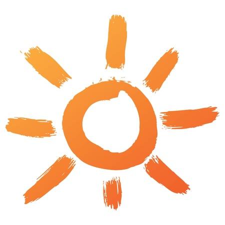sun illustration: hand drawn sun icon