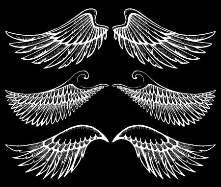 silueta de angel: alas dibujadas a mano configurar Vectores