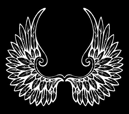 artificial wing: ali disegnate a mano Vettoriali