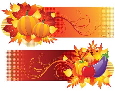 aubergine: Herbst Banner Illustration