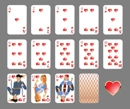 king and queen of hearts: Playing cards - heart suit highly detailed vector illustration