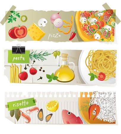 İtalyan mutfağı: Italian cuisine dishes - pizza, pasta and risotto Çizim