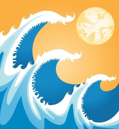 coastline: sea waves in japan style Illustration