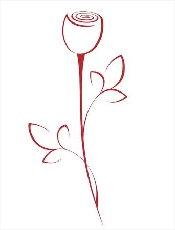 single red rose: stylized rose flower Illustration