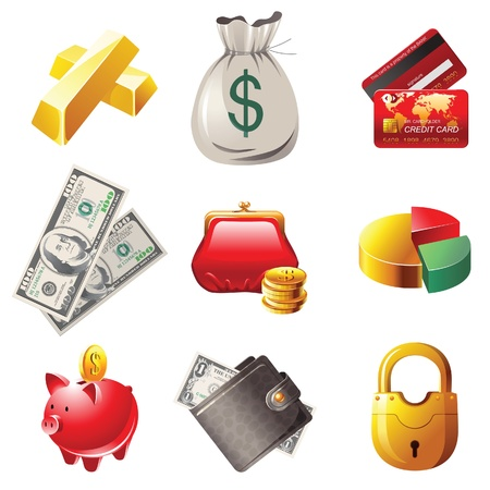 coin purse: 9 highly detailed money icons